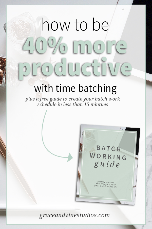 Ever feel like there isn't enough time to get it all done as an entrepreneur? Start batch working your tasks and you could be up to 40% more productive! #productivitytips #smallbusiness #entrepreneur #mompreneur #businesstips