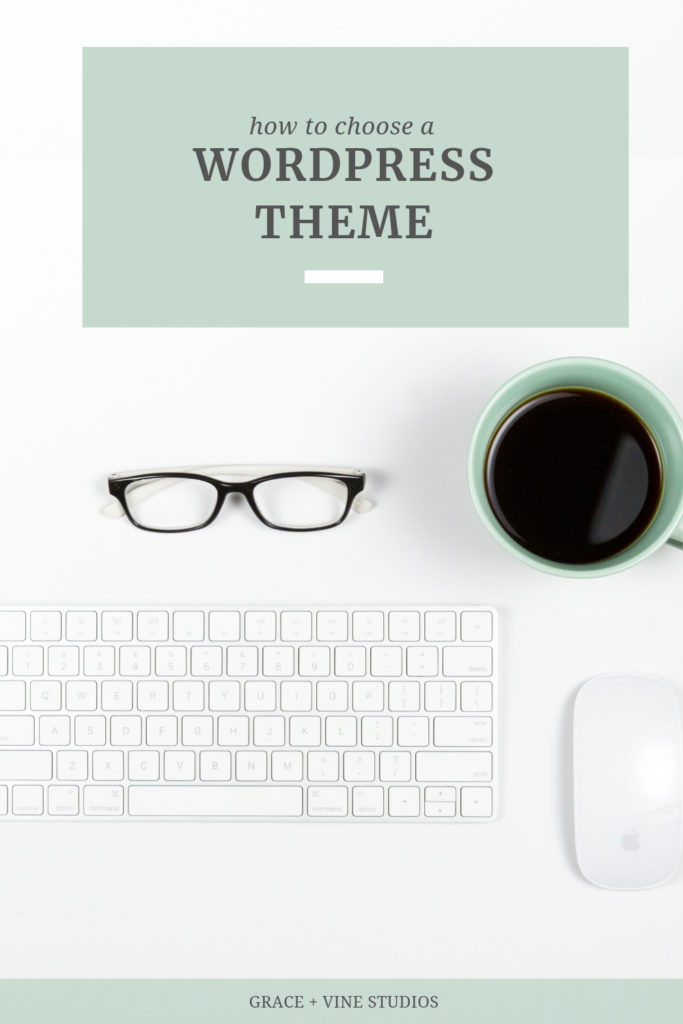 White keyboard with coffee mug, black rimmed glasses and a white Apple brand mouse. Text overlay that says How to Choose a WordPress Theme.