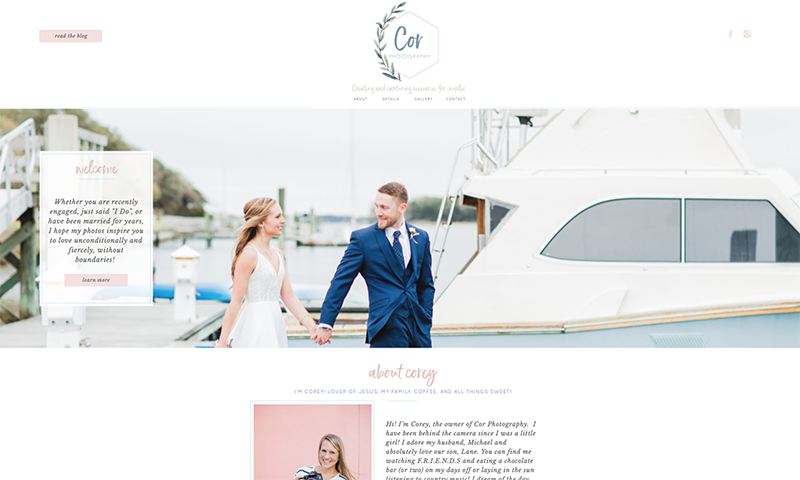 North Carolina Wedding Photographer Website Design | Web Design for Photographer