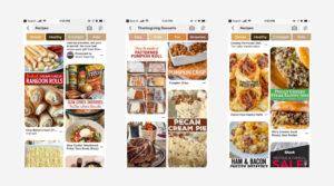 Screenshots of mobile grid on Pinterest.
