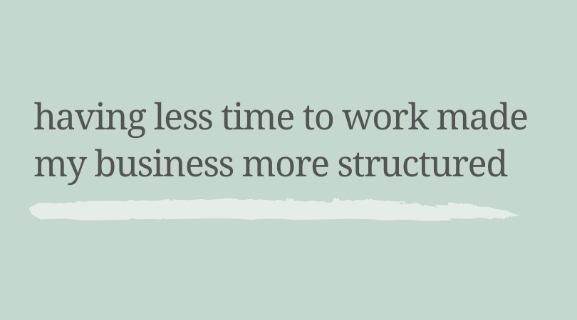 Having less time to work made my business more structured.