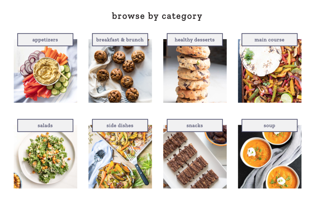 Visual recipe index with category images